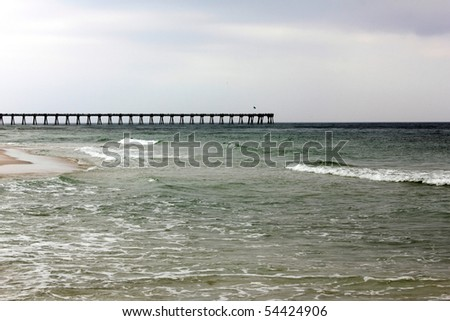 PENSACOLA BEACH, FL - MAY 9: Clean water and tourism are threatened by the BP oil spill May 9th, 2010, on Pensacola Beach, FL. - stock photo