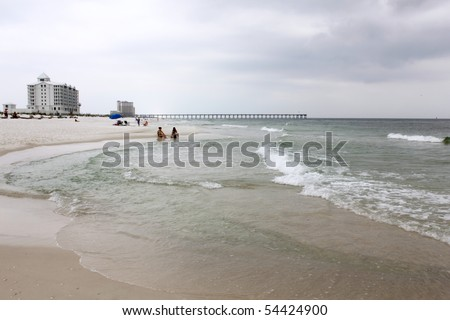 PENSACOLA BEACH, FL - MAY 9: White sand beach and tourism are threatened by the BP oil spill May 9th, 2010, on Pensacola Beach, FL. - stock photo