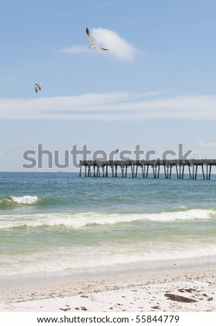 PENSACOLA BEACH - JUNE 23:  Seagulls fly over the beach area on June 23, 2010 in in Pensacola, FL. - stock photo