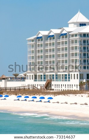 PENSACOLA BEACH -16 MARCH: The Margaritaville Hotel on Pensacola Beach on March 16, 2011. Local businesses hope tourists return to the Gulf Coast near the one year anniversary of the BP oil spill. - stock photo
