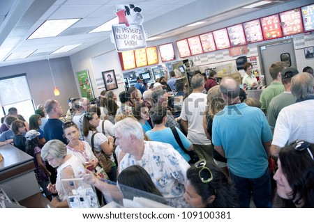 PENSACOLA, FL - AUGUST 1: Patrons shop at Chick-Fil-A restaurant in Pensacola, FL, on August 1, 2012 on national Day of Support following backlash from the owner supporting traditional marriage. - stock photo