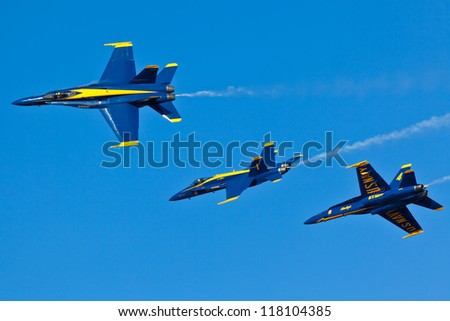 PENSACOLA, FL - NOVEMBER 2:US Navy Blue Angels in F-18 Hornet planes perform in air show routine in Pensacola, FL on November 2, 2012. Blue Angels are the oldest active aerobatic team in the world
