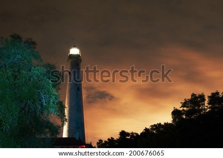 Pensacola, Florida lighthouse. Established in 1824, it is the tallest and oldest lighthouse on the Gulf Coast. Still in use today after more than 150 years - stock photo
