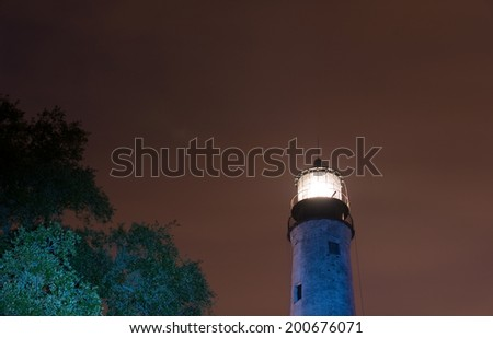 Pensacola, Florida lighthouse. Established in 1824, it is the tallest and oldest lighthouse on the Gulf Coast. Still active after over 150 years - stock photo
