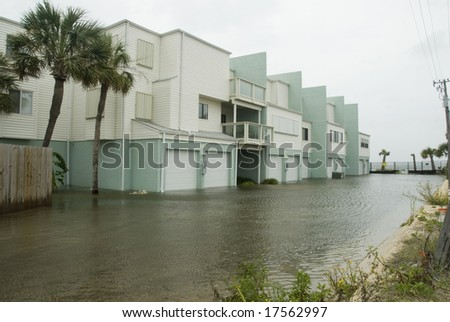 PENSACOLA - SEP 1, 2008: Flood waters engulf an apartment complex during Hurricane Gustav on September 1, 2008. Gustav damage is estimated in excess of $20 billion. - stock photo