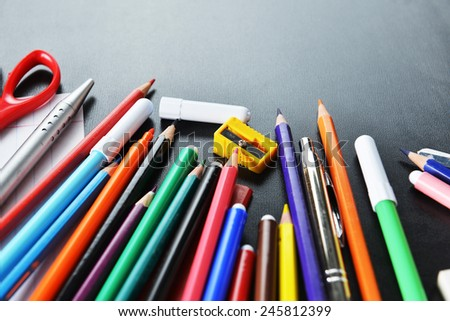 pensil, pen and other  school supplies  - stock photo