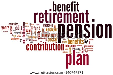 Pension and retirement based terms word cloud tags