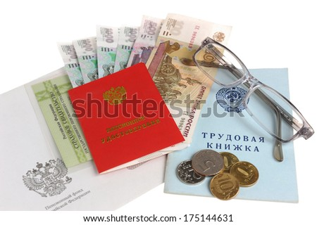 Pension documents, money, envelope and glasses isolated on white background - stock photo