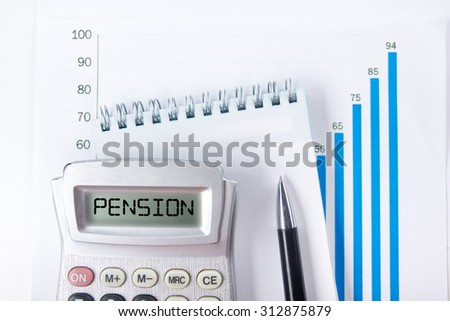 Pension - Financial accounting stock market graphs analysis. Calculator, notebook with blank sheet of paper, pen on chart. Top view - stock photo