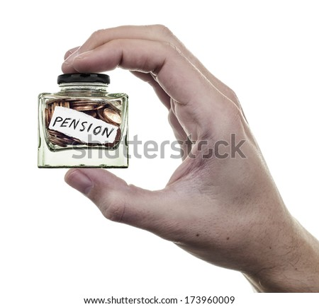 Pension, hand holding a very small jar of coins on white background - stock photo