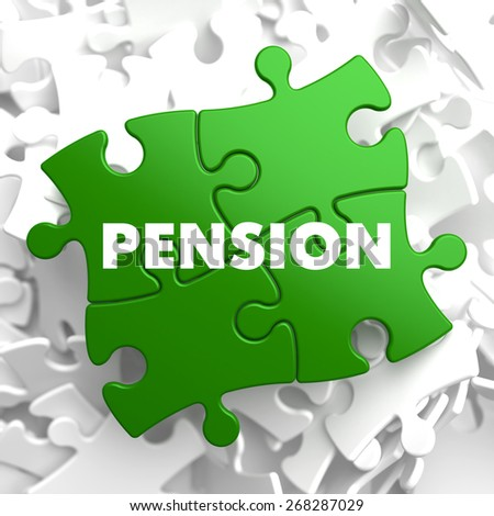 Pension on Green Puzzle on White Background. - stock photo