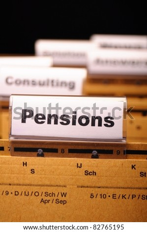 pension pension or retirement concept with word on business office folder index - stock photo