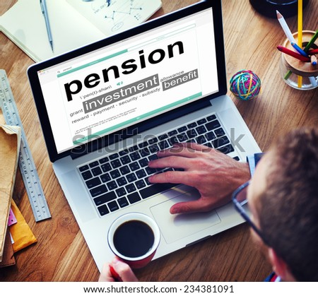 Pension Retirement Income compensation Office Business Concept - stock photo