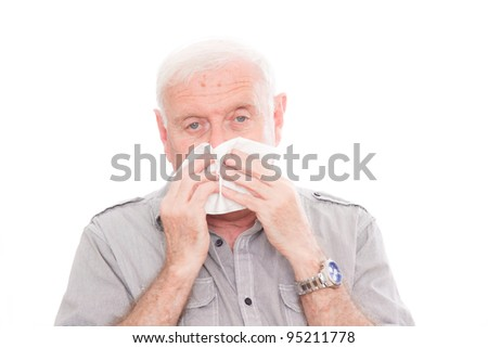 pensioner getting unwell - stock photo