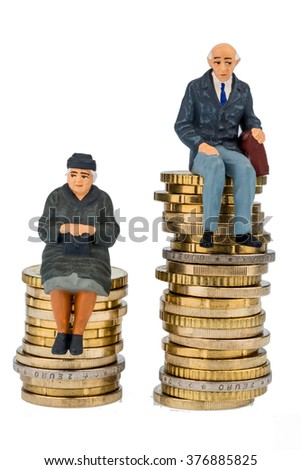 pensioners and pensioner on geldstapel - stock photo