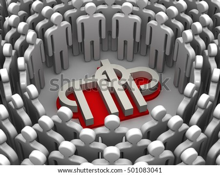 Pensioners of the Russian Federation. Symbols of people surrounded the symbol of the Pension Fund of the Russian Federation. Isolated. 3D Illustration
