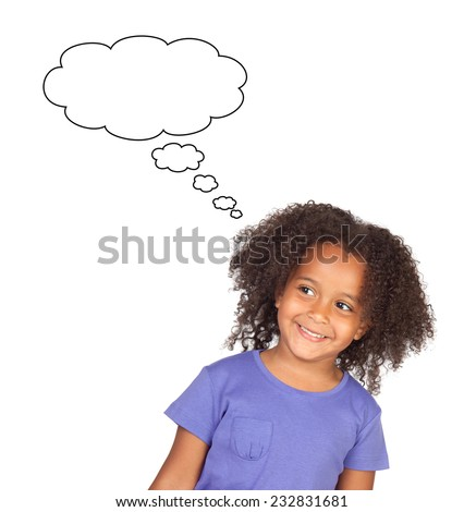 Pensive african child isolated on a white background - stock photo
