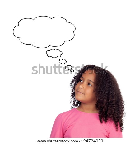 Pensive african girl isolated on a white background - stock photo
