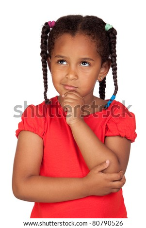 Pensive african little girl isolated on a over white - stock photo
