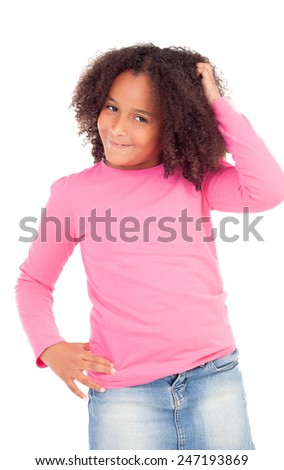 Pensive african little girl sitting on the floor isolated on white background - stock photo