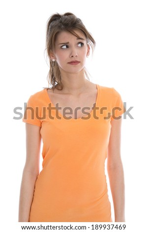 Pensive and doubtful young isolated woman wearing summer shirt. - stock photo