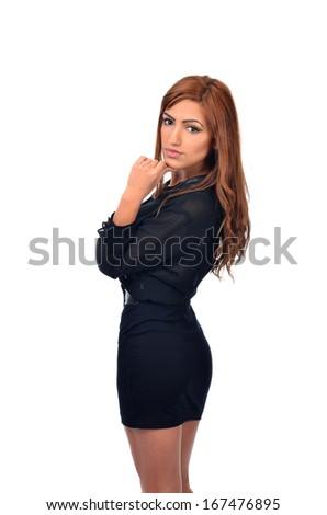 pensive arab business woman - stock photo