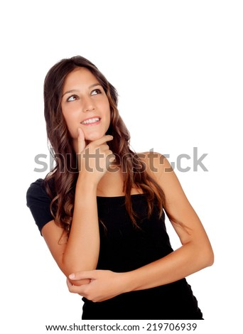 Pensive attractive girl in black isolated on a white background - stock photo
