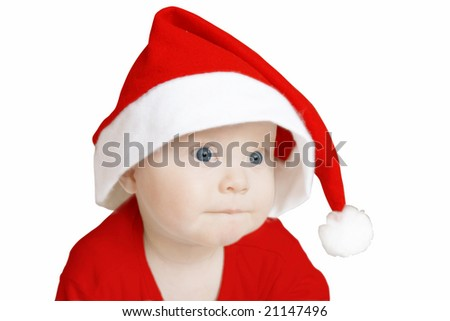 pensive baby in big Santa Claus hat on white background - stock photo