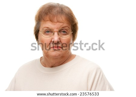 Pensive Beautiful Senior Woman Portrait Isolated on a White Background. - stock photo