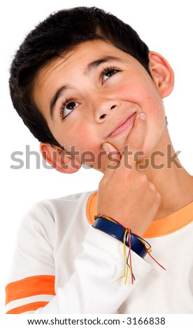 pensive boy portrait over a white background - stock photo