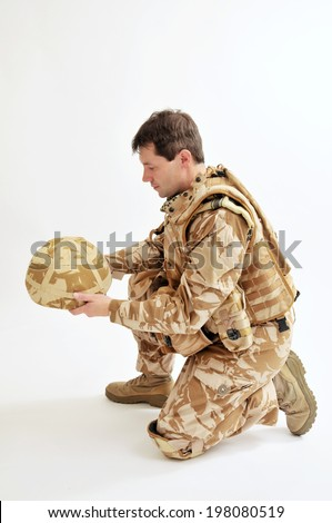 Pensive British Soldier - stock photo