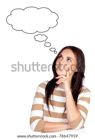 Pensive brunette girl isolated on a over white background