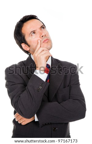 pensive business man looking up, isolated on white - stock photo