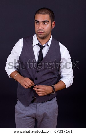pensive business man portrait on black background