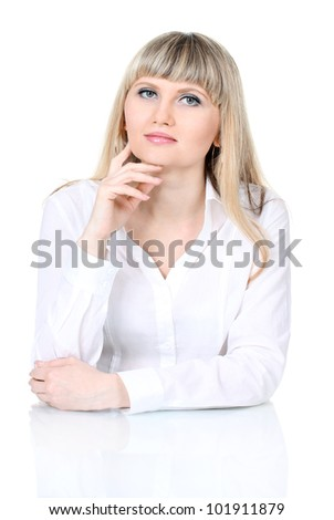 Pensive business woman isolated on white