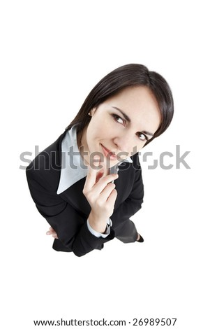 pensive business woman isolated on white background. High angle view - stock photo