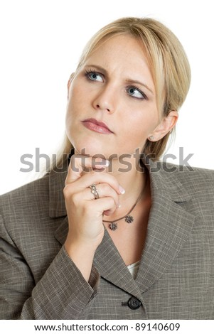Pensive business woman portrait isolated on white - stock photo