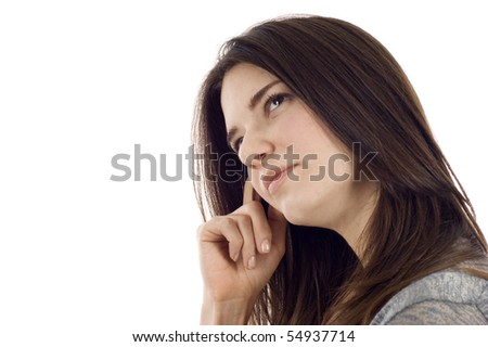 Pensive business woman with copyspace, isolated over white background - stock photo