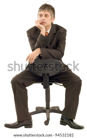 Pensive businessman isolated on white background - stock photo