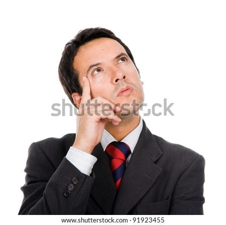 Pensive businessman on white background - stock photo