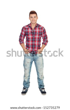 Pensive casual boy with plaid shirt isolated on white background