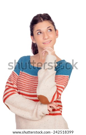 Pensive casual girl thinking isolated on a white background - stock photo