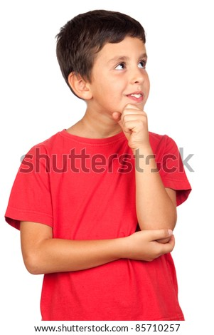 Pensive child isolated on a over white background - stock photo