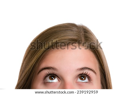 Pensive close up of Hispanic young woman thinking of the options. Image isolated on white with clipping path. - stock photo