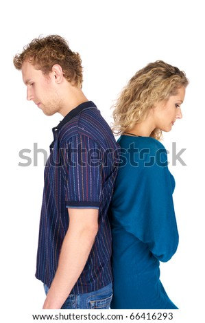 Pensive couple having an argument isolated over white background - stock photo