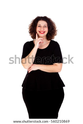 Pensive curvy girl with black dress isolated on a white background