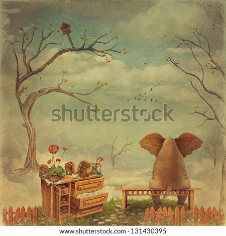 Pensive Elephant  sit on a bench in the sky - stock photo