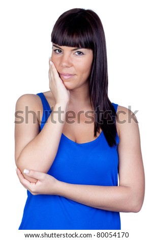 Pensive girl isolated on a over white background - stock photo