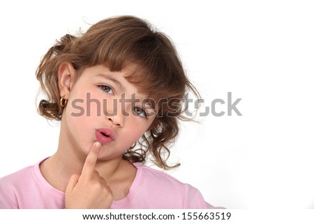 Pensive little girl. - stock photo