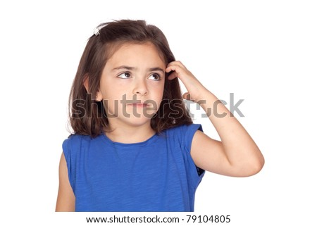 Pensive little girl isolated on a over white background - stock photo